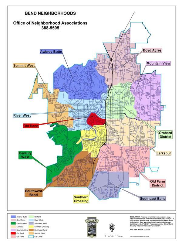 Bend Neighborhood Association Map